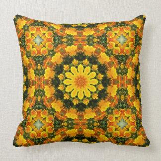 Flower Mandala, golden poppies, Californian poppy Throw Pillow