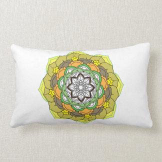 Flower Mandala in turquoise colors Lumbar Pillow