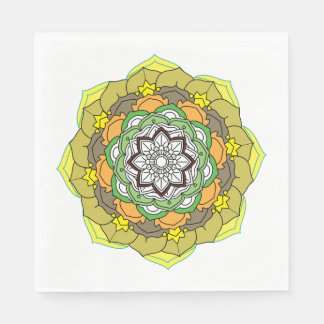Flower Mandala in turquoise colors Paper Napkin