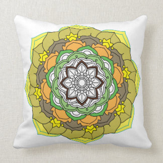 Flower Mandala in turquoise colors Throw Pillow