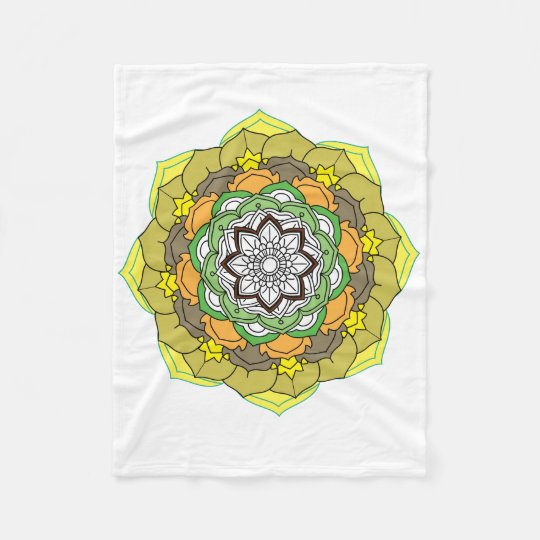 Flower Mandala in turquoise colours Fleece Blanket
