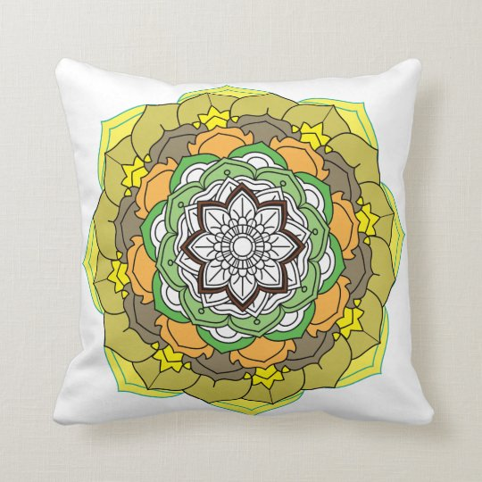 Flower Mandala in turquoise colours Throw Pillow