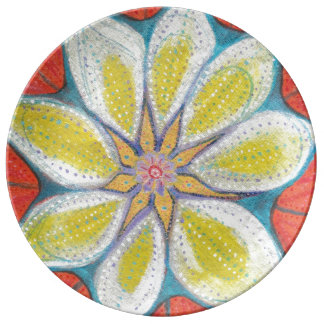 Flower Mandala Painting Decorative Porcelain Plate