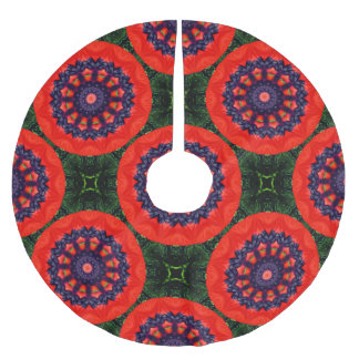 Flower Mandala, red poppies for christmas 2.2.F Brushed Polyester Tree Skirt