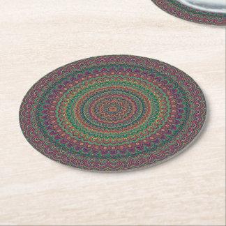 Flower mandala round paper coaster
