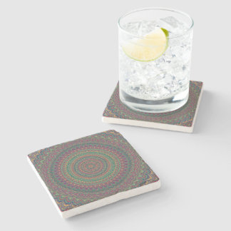 Flower mandala stone beverage coaster