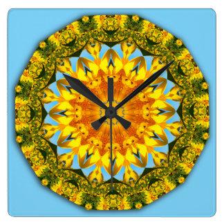 Flower-Mandala, Sunflower 1.2 Square Wall Clock