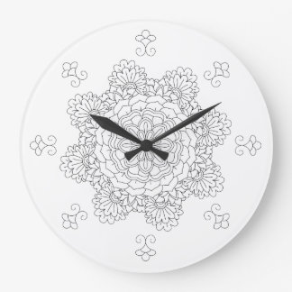 Flower Mandala. Vintage decorative elements. Orien Large Clock