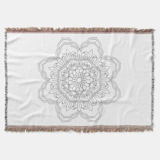 Flower Mandala. Vintage decorative elements. Orien Throw Blanket