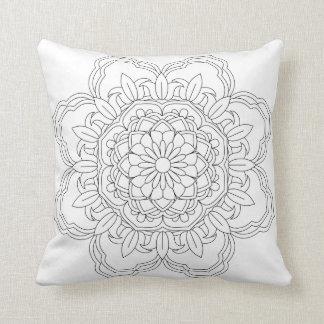 Flower Mandala. Vintage decorative elements. Orien Throw Pillow