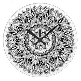 Flower mandala w/ seed of life large clock