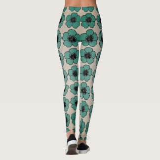 Flower-Me-Green_Cream-Floral_LEGGING'S_XS-XL Leggings