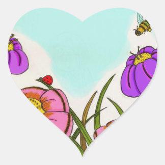 Flower Meadow Heart Stickers - Set of 20