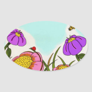 Flower Meadow Oval Stickers - Set of 20