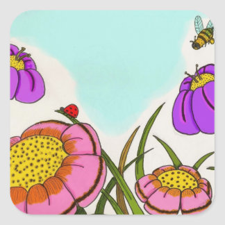 Flower Meadow Square Stickers - Set of 20