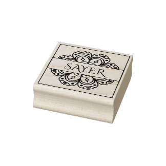 Flower Medallion Name Plate Rubber Art Stamp