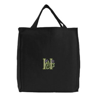 Flower Monogram Initial H Embroidered Tote Bags