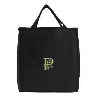 Flower Monogram Initial P Embroidered Bag