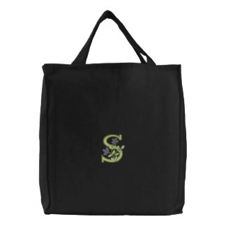 Flower Monogram Initial S Embroidered Bags