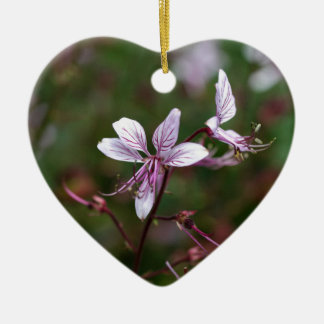 Flower of a burning bush ceramic heart ornament