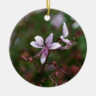 Flower of a burning bush round ceramic ornament