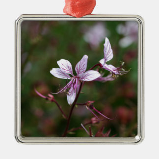 Flower of a burning bush Silver-Colored square ornament