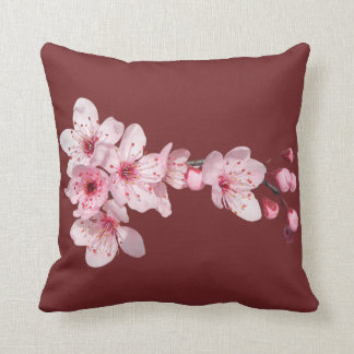 Flower of cherry tree pink color for a garnet throw pillow