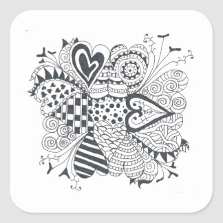 Flower of Hearts Square Sticker