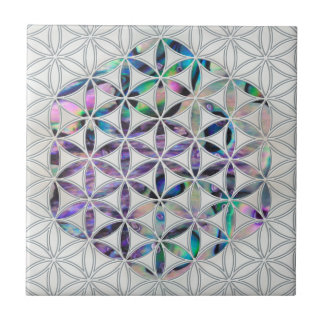 Flower of life Abalone shell on pearl Tile