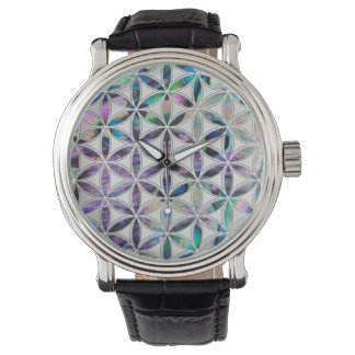 Flower of life Abalone shell on pearl Watch
