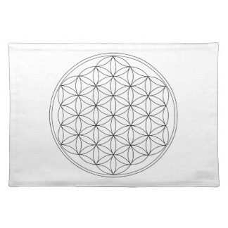 Flower of Life Black Line Placemat