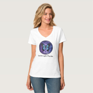 Flower of Life Blue Butterfly in Space Lucia Light T-Shirt