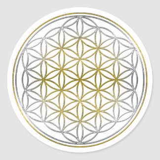 FLOWER OF LIFE / Blume des Lebens - BiColor Classic Round Sticker