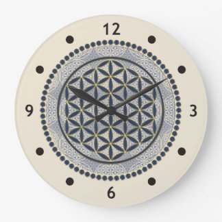 Flower of Life / Blume des Lebens - Button IX Large Clock