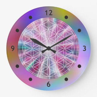 Flower Of Life / Blume des Lebens - Button VII Large Clock