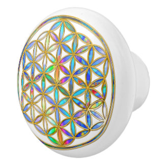 Flower Of Life / Blume des Lebens - colorful shine Ceramic Knob