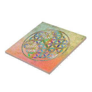 Flower of Life / Blume des Lebens - gold colorful Ceramic Tile