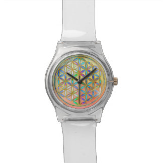 Flower of Life / Blume des Lebens - gold colorful Wristwatches