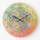 Flower of Life / Blume des Lebens - gold colourful Large Clock