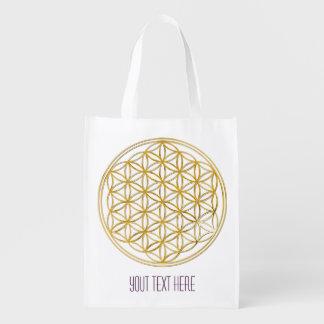 Flower Of Life / Blume des Lebens - GOLD Reusable Grocery Bag