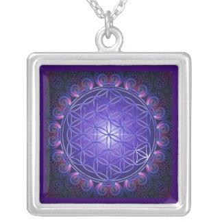 FLOWER OF LIFE / Blume des Lebens Mandala I Square Silver Plated Necklace
