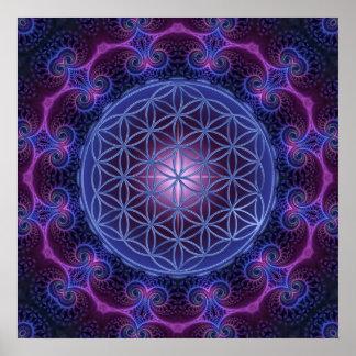 FLOWER OF LIFE/Blume des Lebens Mandala II Square Poster