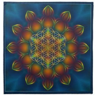 FLOWER OF LIFE/Blume des Lebens Mandala III Square Cloth Napkins