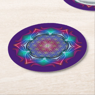 Flower Of Life / Blume des Lebens - Mandala IV Round Paper Coaster