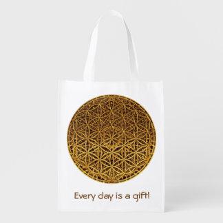 Flower Of Life / Blume des Lebens - medal gold Reusable Grocery Bag
