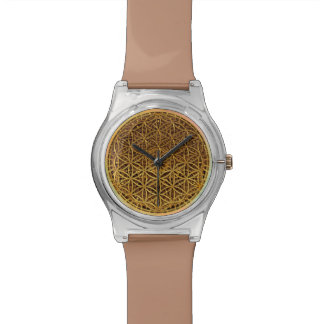 Flower Of Life / Blume des Lebens - medal gold Wrist Watches