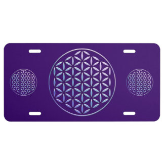 Flower Of Life / Blume des Lebens - stamp violet License Plate