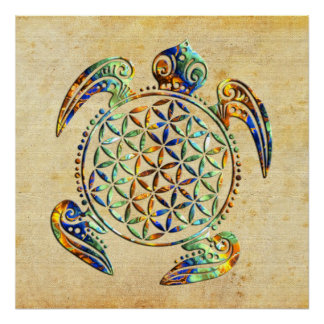 Flower of Life / Blume des Lebens - turtle colored Poster