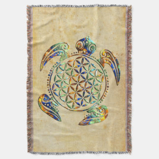 Flower of Life / Blume des Lebens - turtle colored Throw Blanket