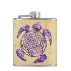 Flower of Life / Blume des Lebens - turtle purple Hip Flask